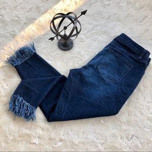 Lane Bryant shredded hem skinny jeans size 16